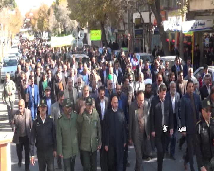 راهپیمایی مردم اقلید در محکومیت آشوبگران