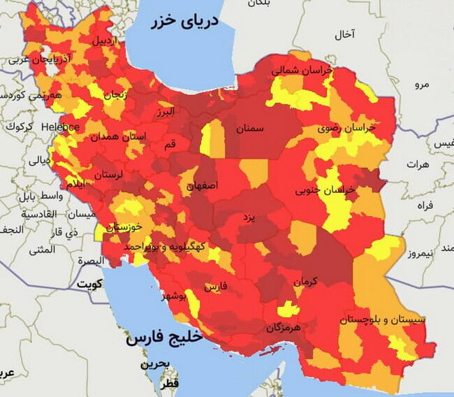۲۹ شهرستان فارس در وضعیت قرمز کرونایی قرار دارند